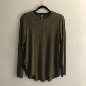 Forever 21 olive ribbed long sleeve shirt
